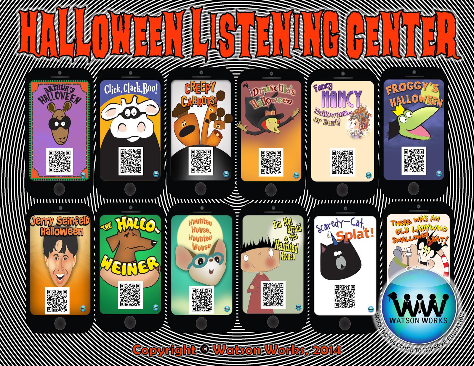 http://www.teacherspayteachers.com/Product/Halloween-Listening-Centers-w-QR-Codes-Hyperlinks-12-Stories-Included-1479338