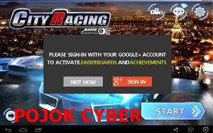 "Tampilan Menu Utama Game Racing ""City Racing 3D"""