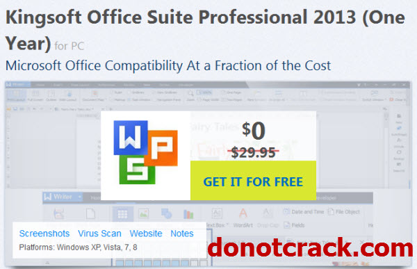 From www.donotcrack.com. Giveaway Kingsoft Office Suite Professional 2013