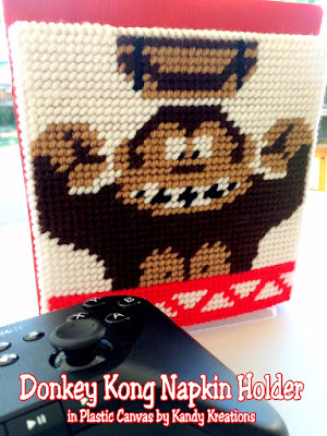 Decorate your dinner table with this fun Donkey Kong napkin holder. This free plastic canvas pattern is easy to sew for the beginner and can be made in a few hours to decorate for your 80s dinner party or Video Game party.