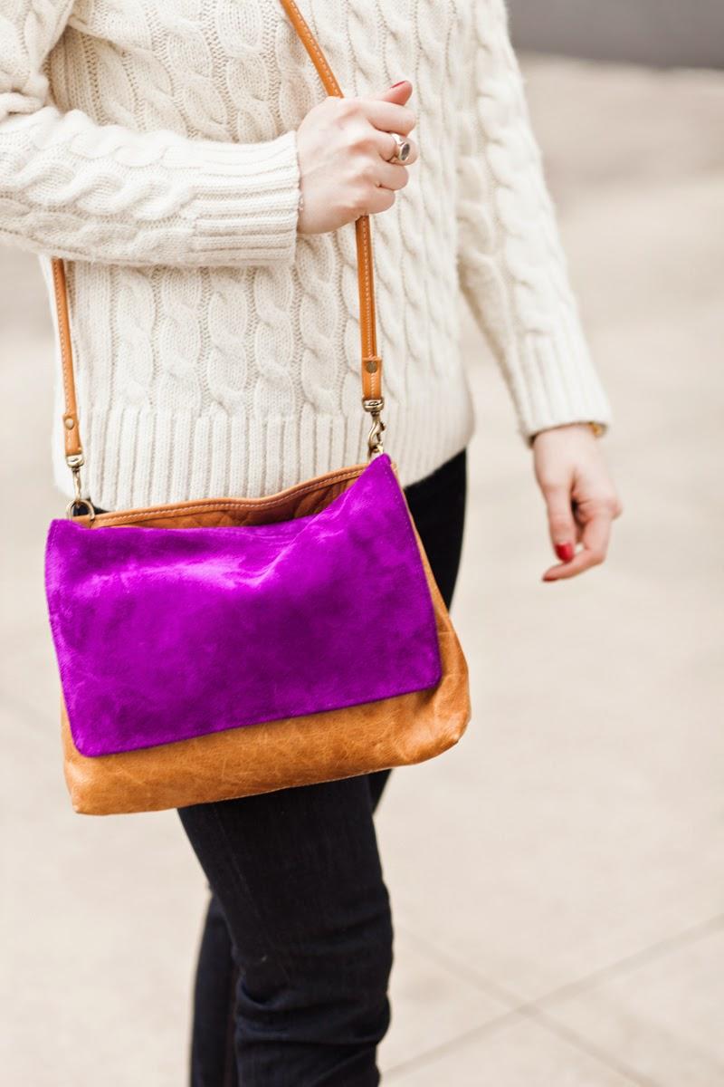 Ceri Hoover Bags, Hadley Cross body bag, Purple suede