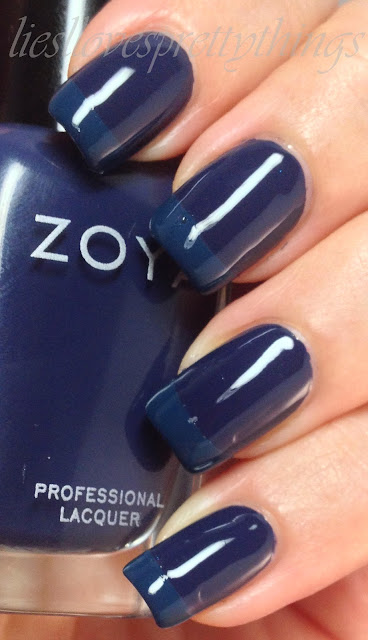 Zoya Sailor and Julep Eloise blue french manicure