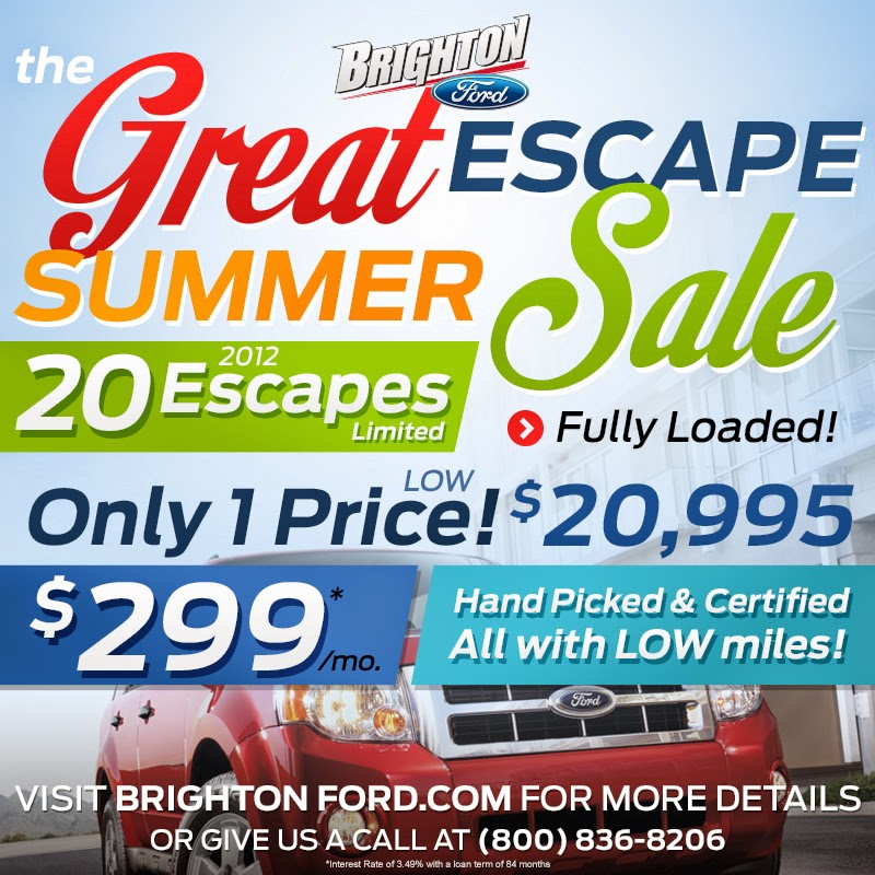 The Brighton Ford Great Escape Summer Sale!
