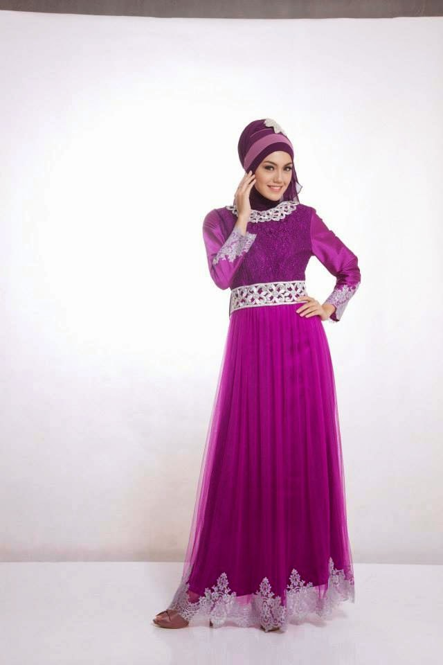 model baju pesta muslim bahan satin