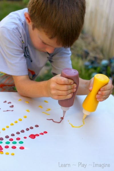 Open ended art with homemade puffy paint