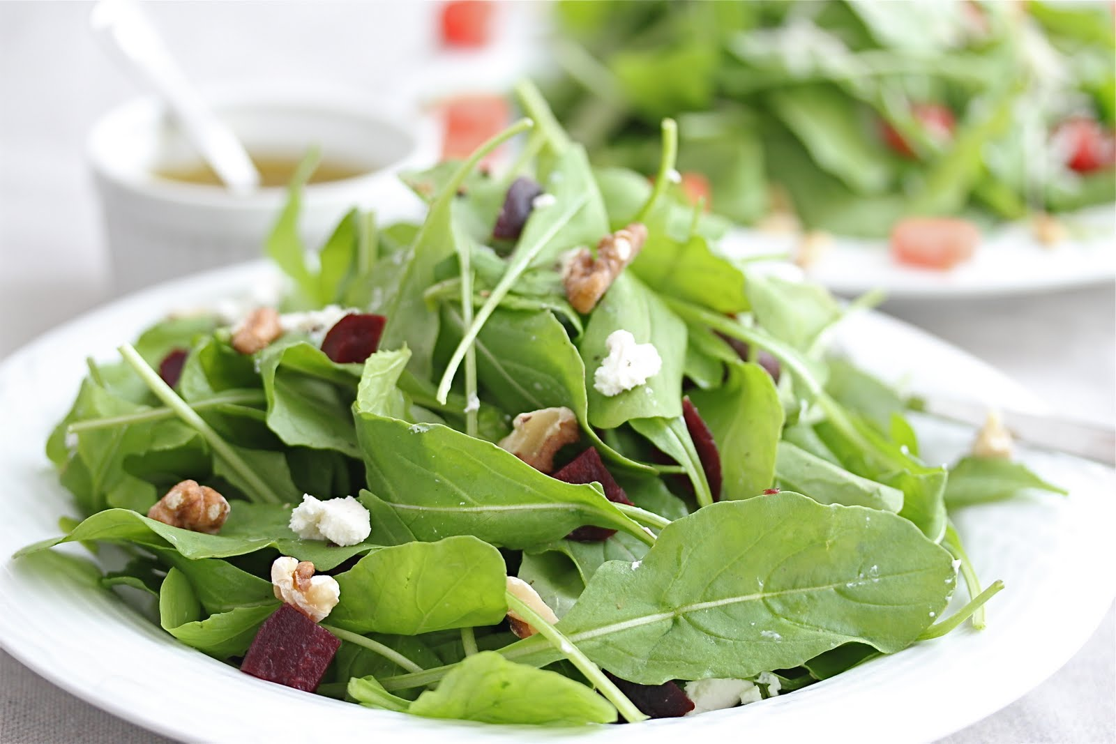 Arugula and Roasted Beet Salad with Goat Cheese and Lemon Olive Oil Dressing