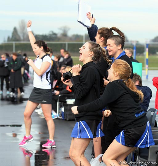 The Wanganui team celebrates at the final whistle - under-17 netball at Hawke's Bay Regional Sports Park, Hastings. Wanganui beat Taranaki 24-23 with a goal in the last two seconds photograph