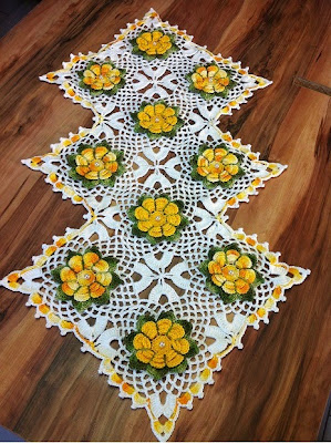Trilho da mesa -  #Crochêterapia