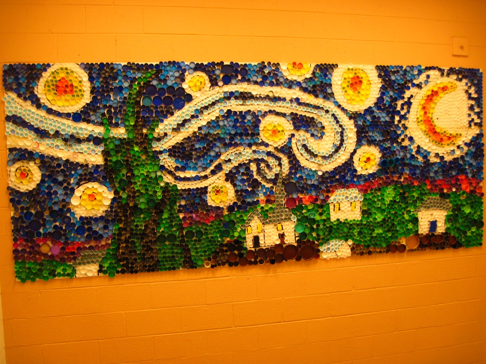 Lines dots and doodles finished bottle cap mural for Bottle cap mural