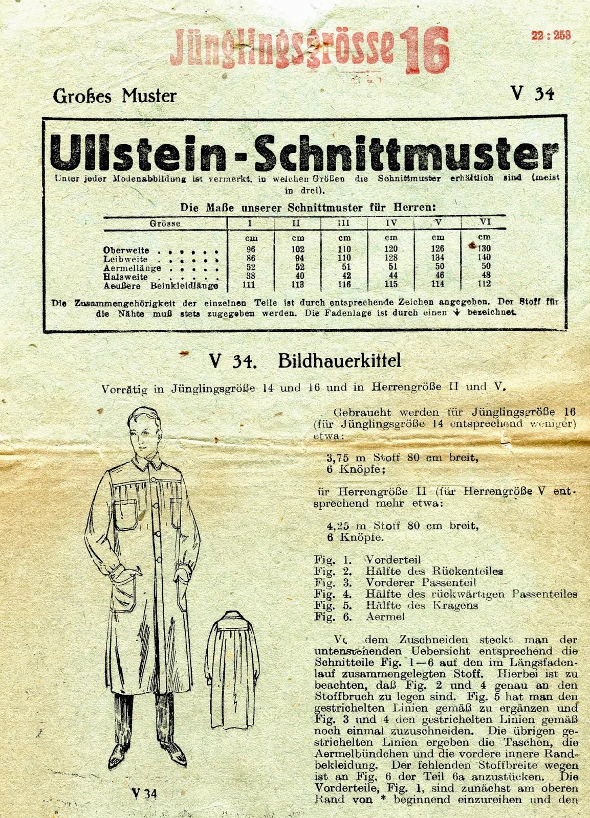 Unsung Sewing Patterns: Ullstein-Schnittmuster V 34 - BildhauerKittel