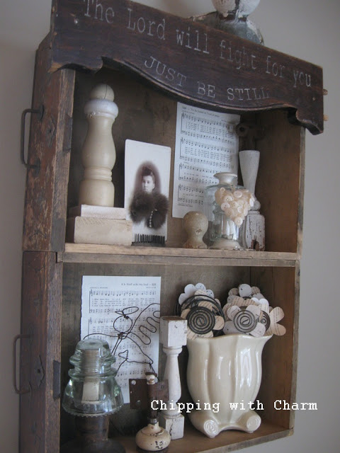 Old drawer shelves by Chipping with Charm featured on Funky Junk Interiors