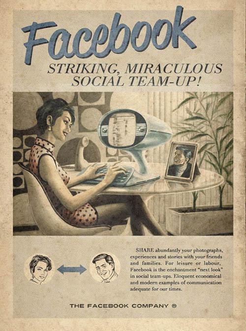 anúncios vintage - produtos modernos - Facebook