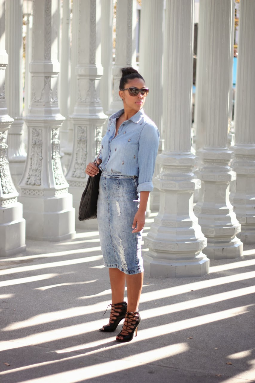 embellished jeweled chambray shirt denim skirt zara j crew lace up ankle boots chanel sunglasses bag