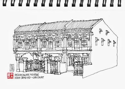 Peranakan house sketch - Koon Seng Road, Joo Chiat