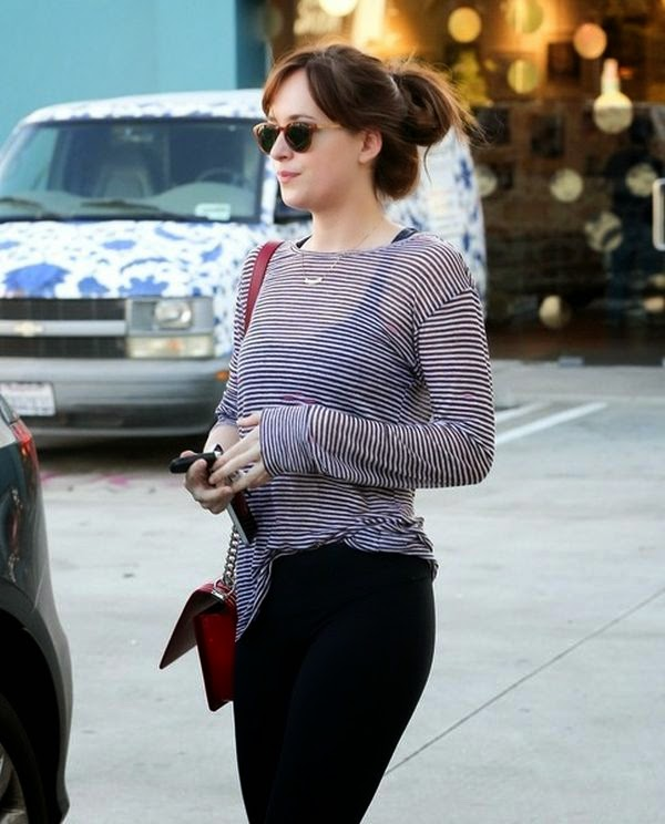 Dakota Johnson wasn't just doing the sport regime for fun as she was snapped to leaving her pilates class at West Hollywood, California on Tuesday, January 27, 2015.