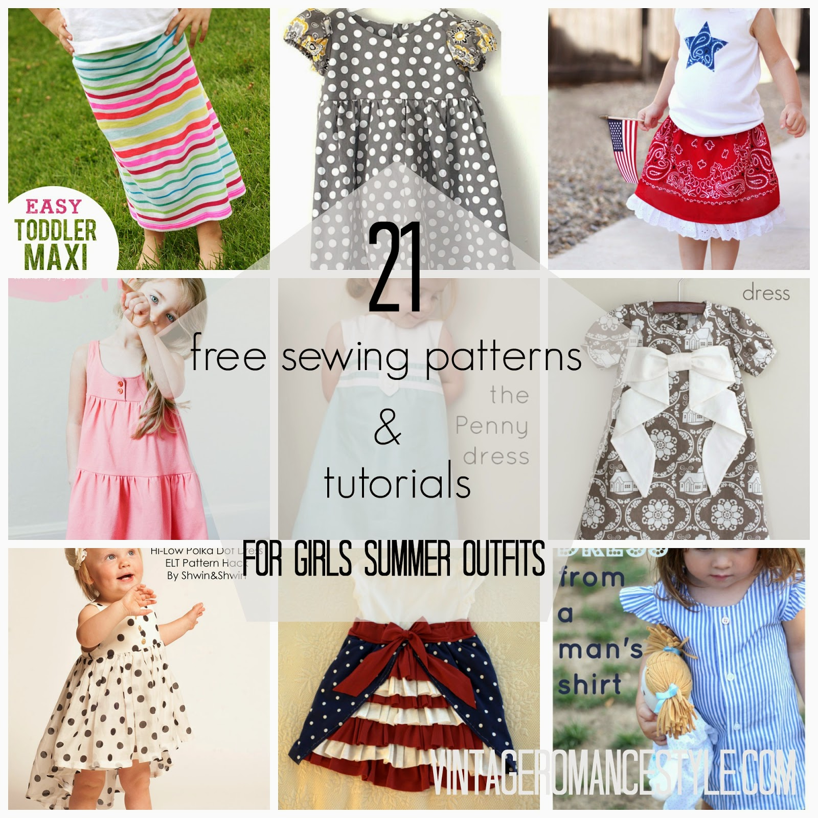 21 Free Sewing Patterns & Tutorials for Girl\'s Summer Outfits ...