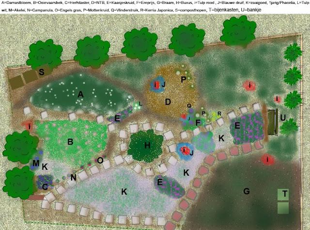 Tekening plantenplan van een bijentuin met veel drachtplanten en bijvriendelijk lokt veel insecten