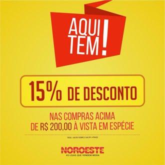 AQUI TEM 15% DE DESCONTO NAS COMPRAS ACIMA DE R$ 200, 00 À VISTA EM ESPÉCIE