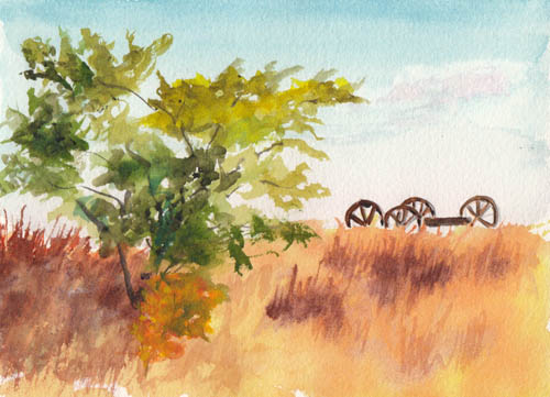 Bunny 39 s artwork country field watercolor painting for Paintings to copy