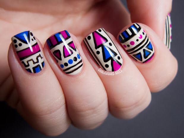 fuchsia and cobalt tribal matte