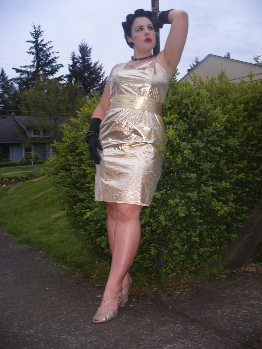 1950s gold lamé dress, 50s gold dress, 50s bombshell dress