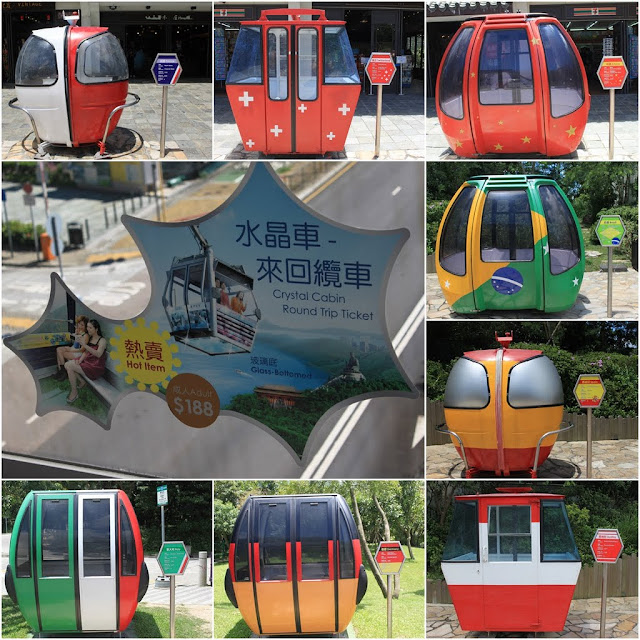 Different cable car design from different countries are displayed at Ngong Ping 360 in Hong Kong