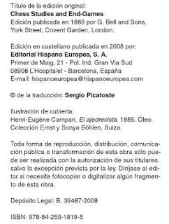 """Editorial del libro """"Estudios y finales de ajedrez"""" de Kling y Horwitz"""