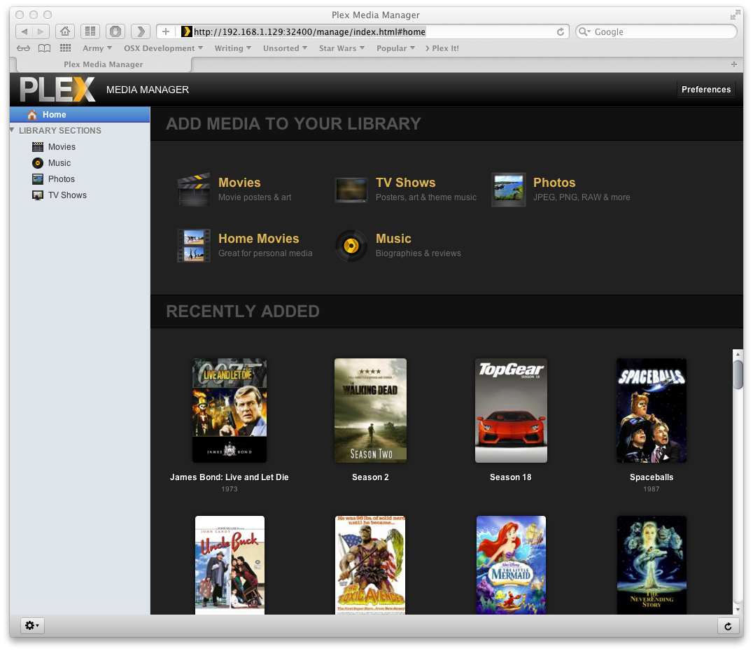 how to show plex server which library to display