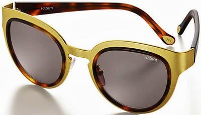 óculos de sol feminino H. Stern em metal dourado fosco e lente marrom