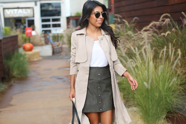 how to wear button skirt to work, justfab clothes, trench coat styling