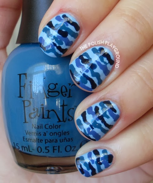 Blue Camouflage Nails