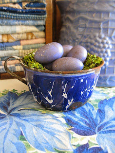 early graniteware cup turned nest