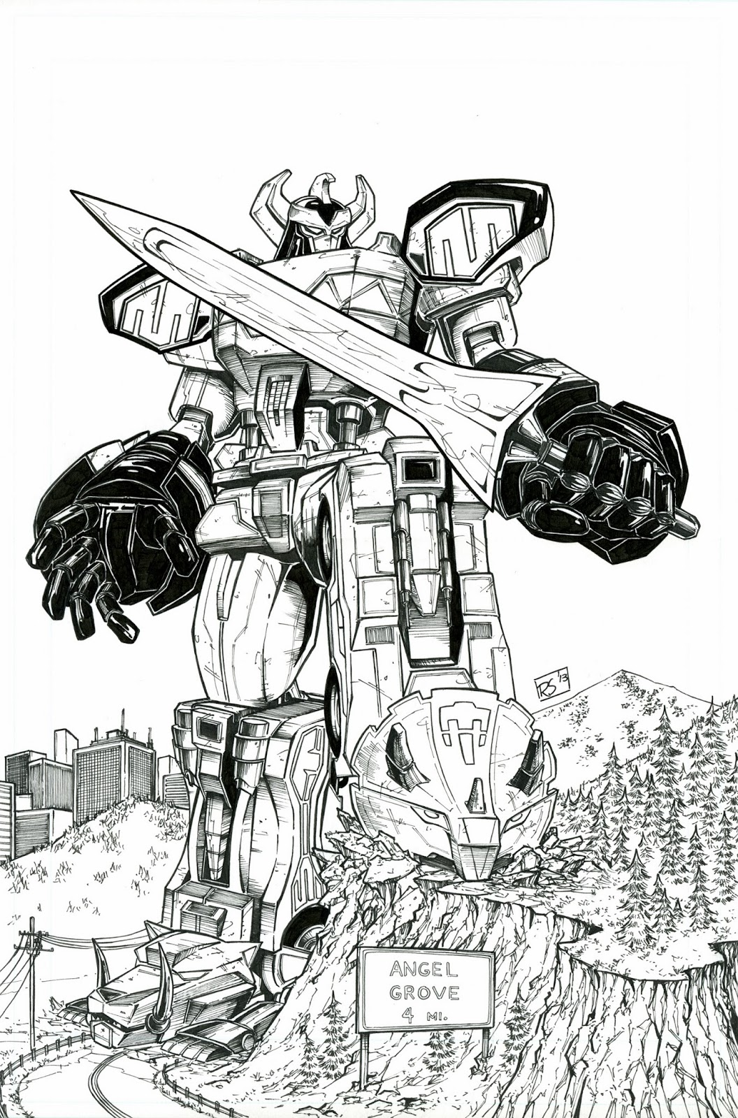 Power ranger megazord coloring pages for Power rangers samurai megazord coloring pages
