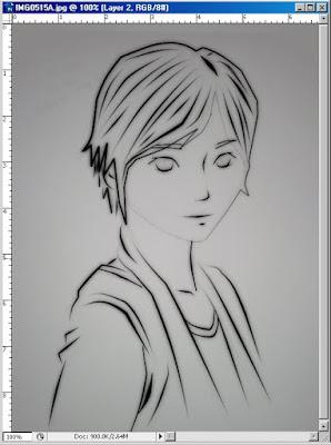 Gambar - Sketsa yang sudah diberi Line (Black line) Menggunakan pen tool