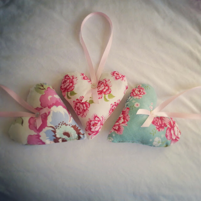 Tilda and Amy Butler fabric hearts
