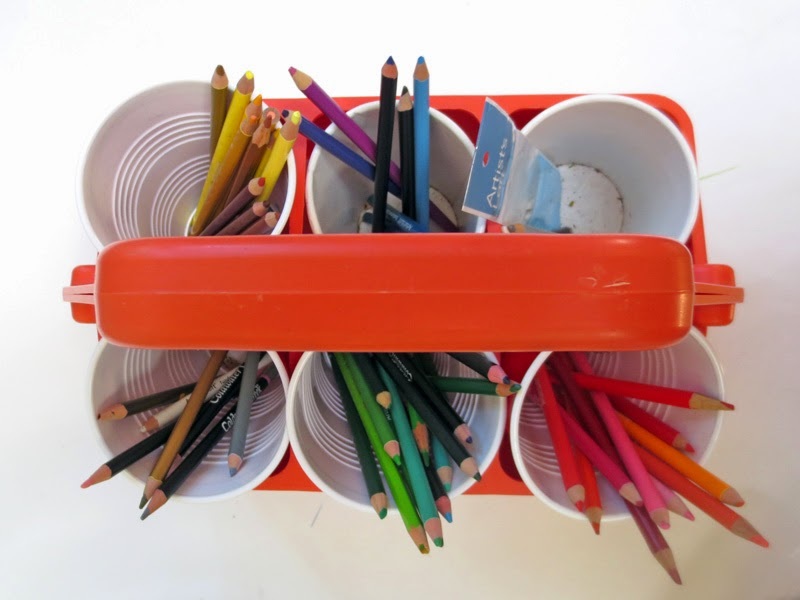 upcycled holder for colored pencils