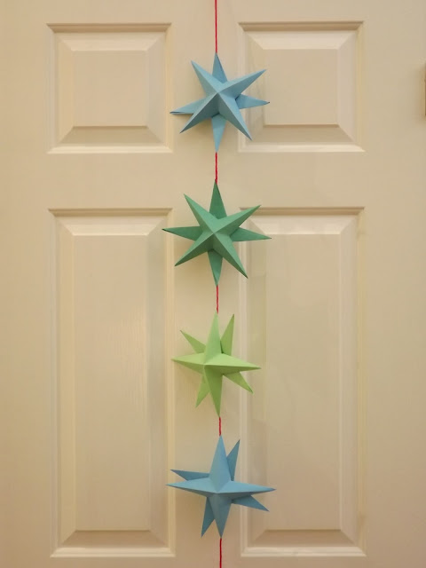 folded origami paper star garland