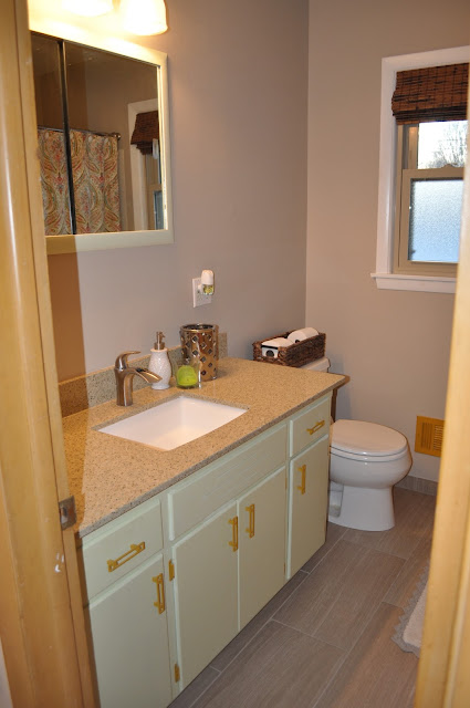 bathroom, vanity, redo, reno, recycled glass counter, bathroom vanity, bathroom counter, home depot, menards, knobs, tile, lowes, flooring, homelux, underlayment, before and after, before, after