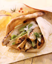 Chicken and hummus pitas