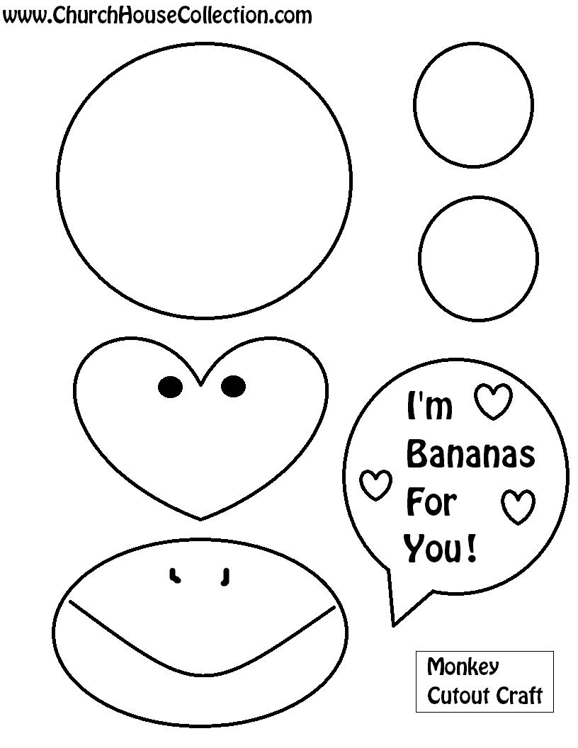 Monkey I'm Bananas For You Cutout Craft For Valentine's Day Kids