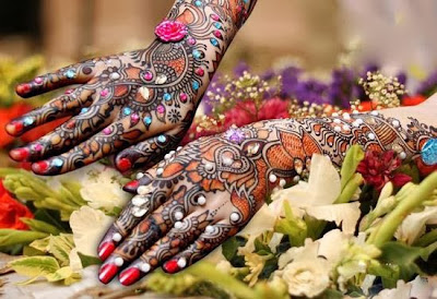 Latest Stone Studded Mehendi (Henna) Designs for Brides in India