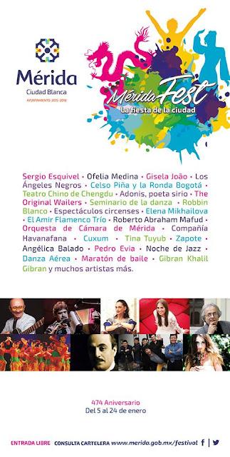 cartelera merida fest 2016
