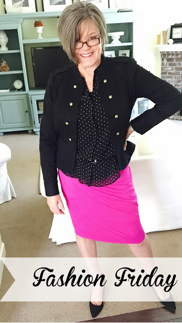Fashion Friday, Pink, Pencil Skirt, Black and white polka dot blouse, Black jacket gold buttons