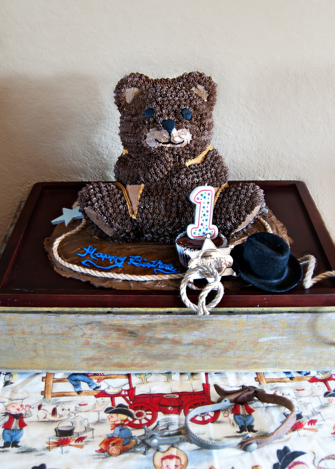 Cowboy Bear Birthday cake