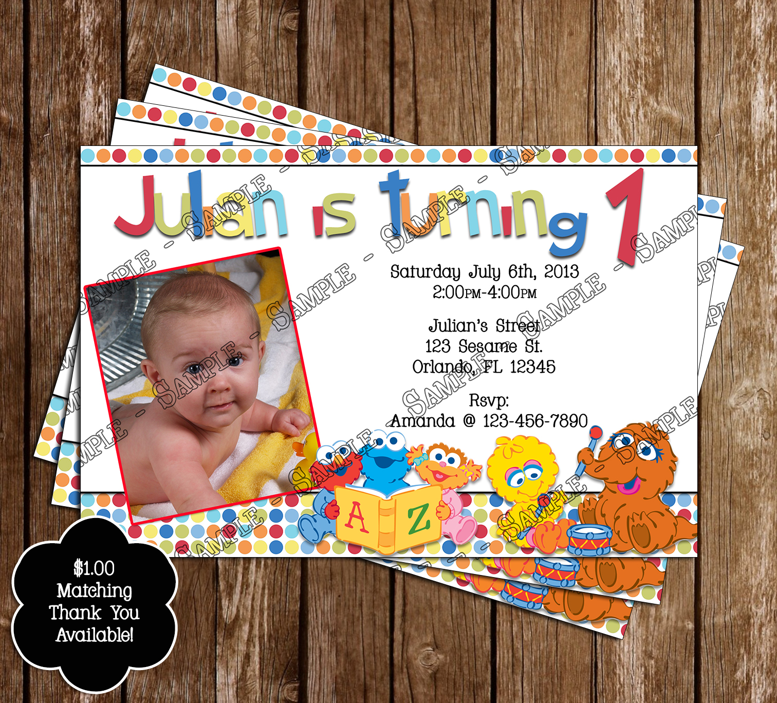 Baby Sesame Street Invitation And Thank You Card