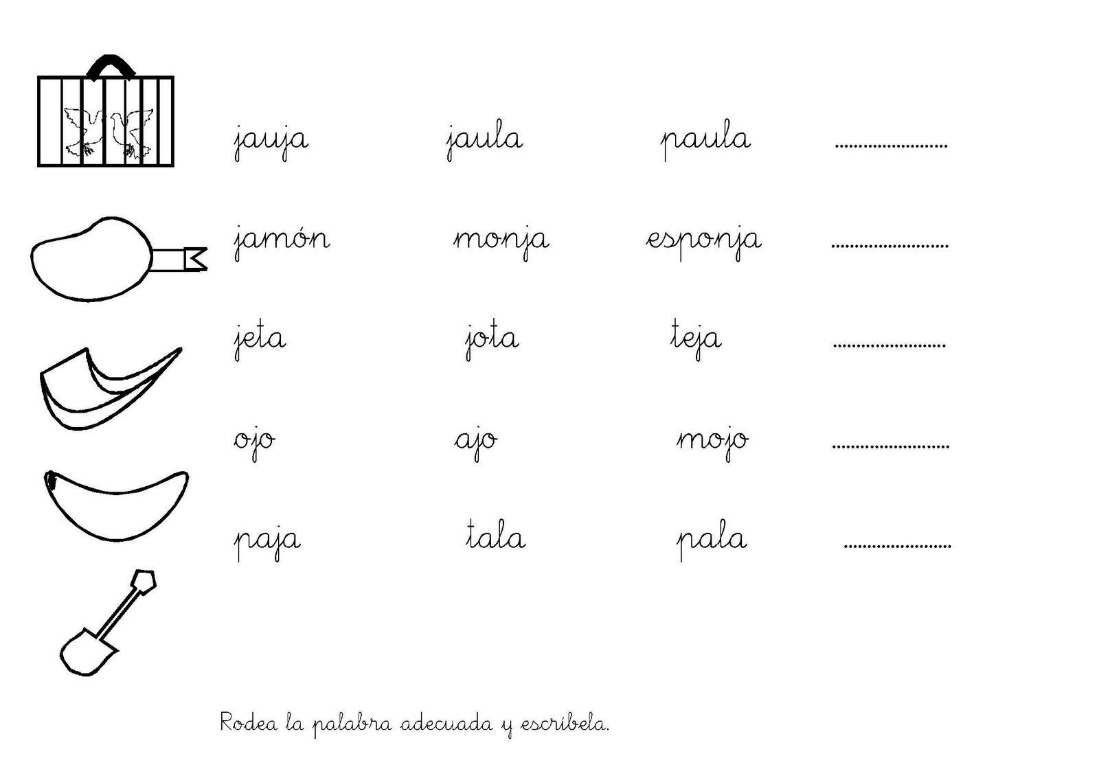 Fichas Infantiles: Fichas letra J