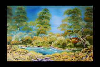 "Original oil painting  of the green Forest Landscape Summer Mirage  A canvas on stretcher. The size ~ 15.75""х 23.6"" (40 cm x 60 cm). This Landscape painted by oil in mixed techniques of painting, with a palette knife. Work on is stretched, gallery a wrapped up canvas. The parties are painted, the Painting  can be hung up at once.  Buy and see other paintings  you may here:  http://www.etsy.com/shop/PaintingInterior This original Painting  available in a variety of printed styles  at  http://painting.artistwebsites.com/"