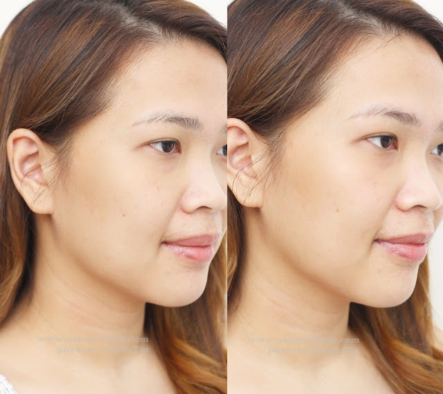 A before and after photo of using Estée Lauder's NEW Nutritious Rosy Prism™ Radiant Gel Emulsion