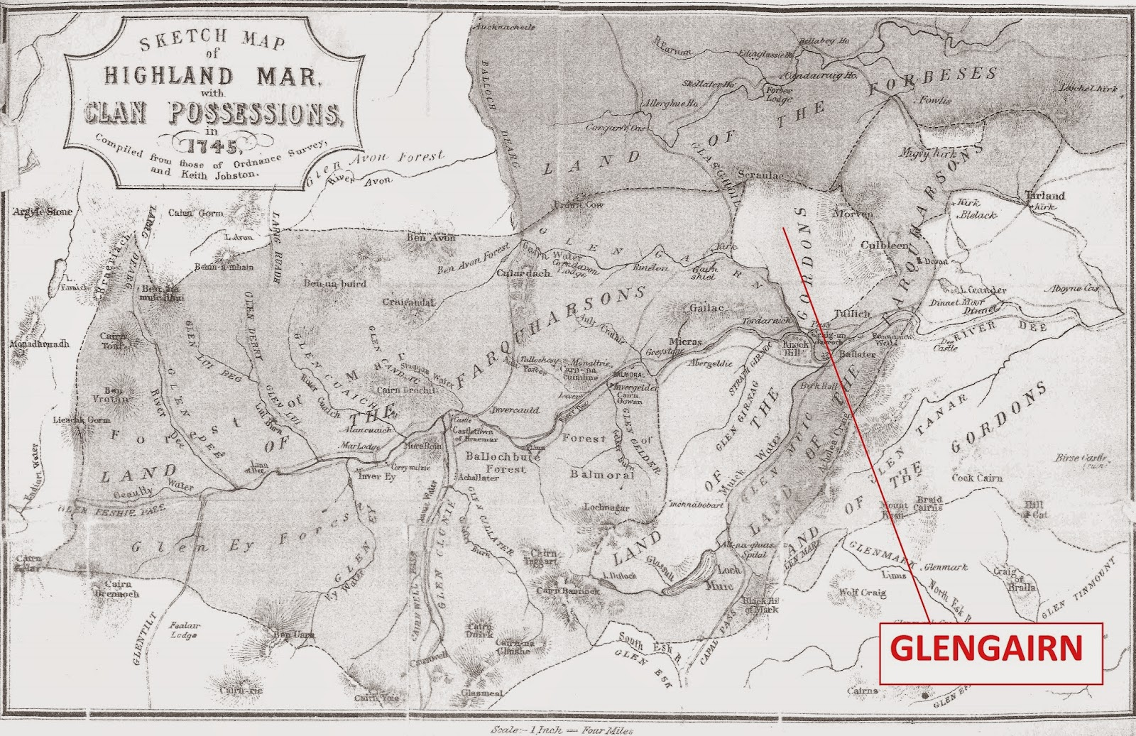 map showing the clan lairdships as at 1745 and the position of glengairn in the catholic gordon huntly territories