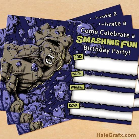 Invitaciones Hulk gris.
